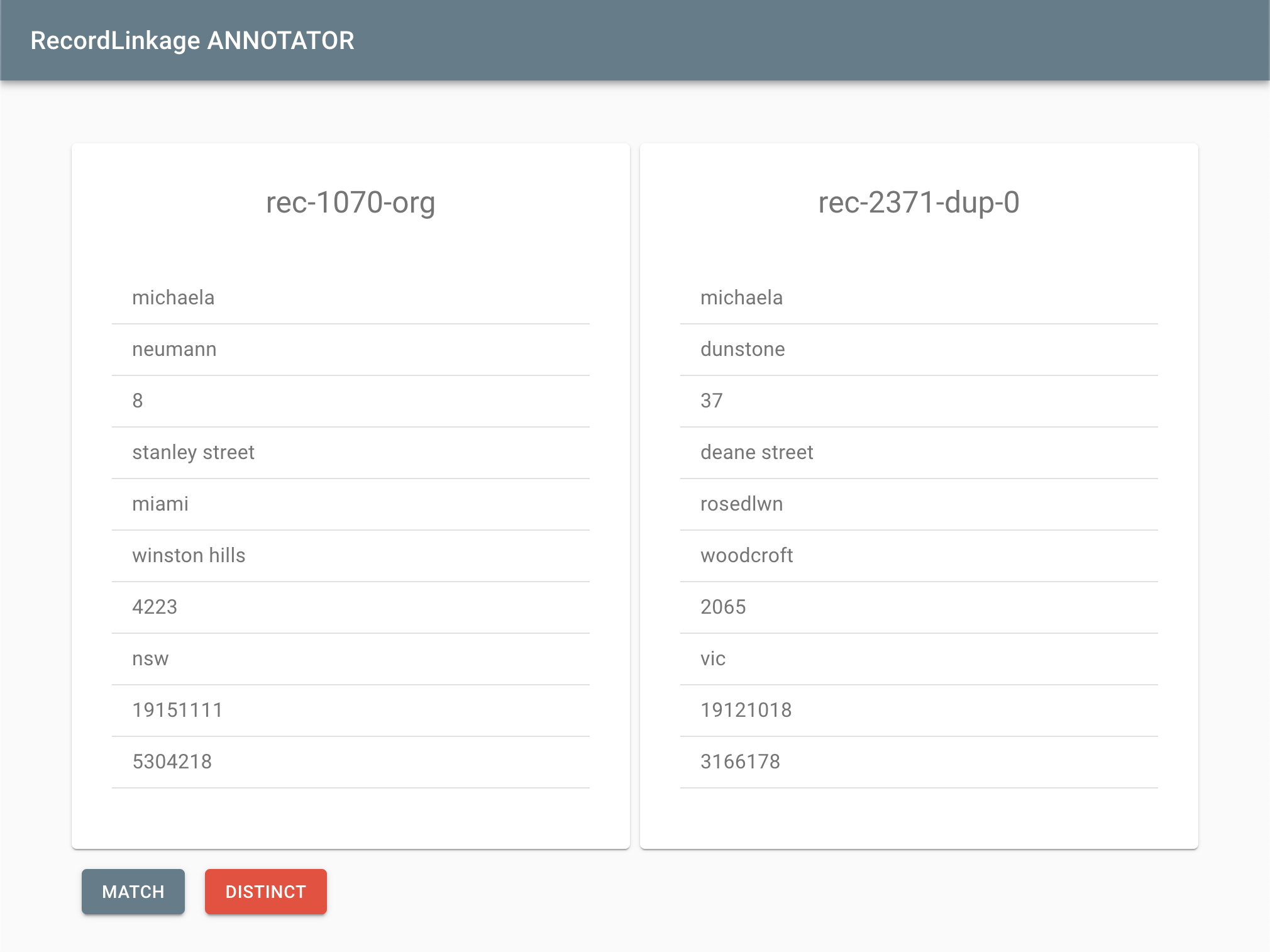 Review screen of RecordLinkage ANNOTATOR