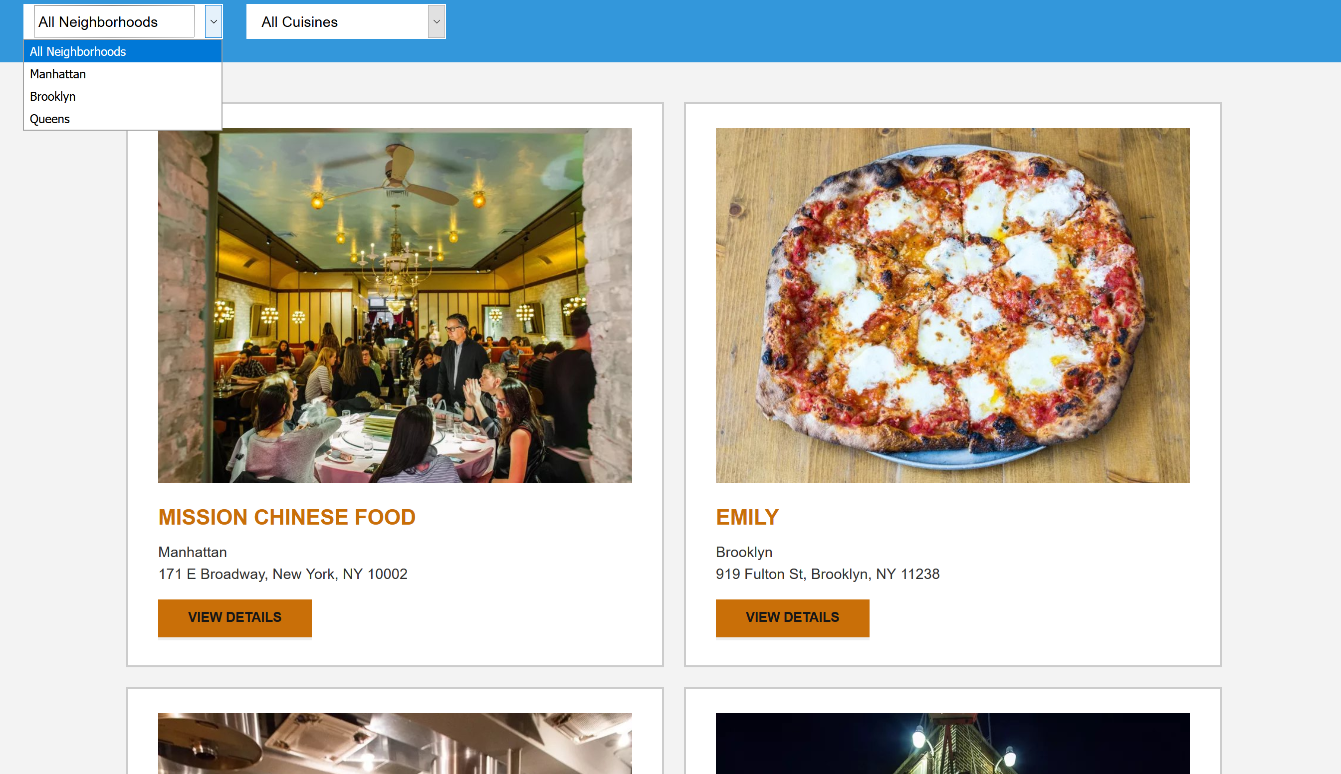 a listing of local restaurants in the New York area