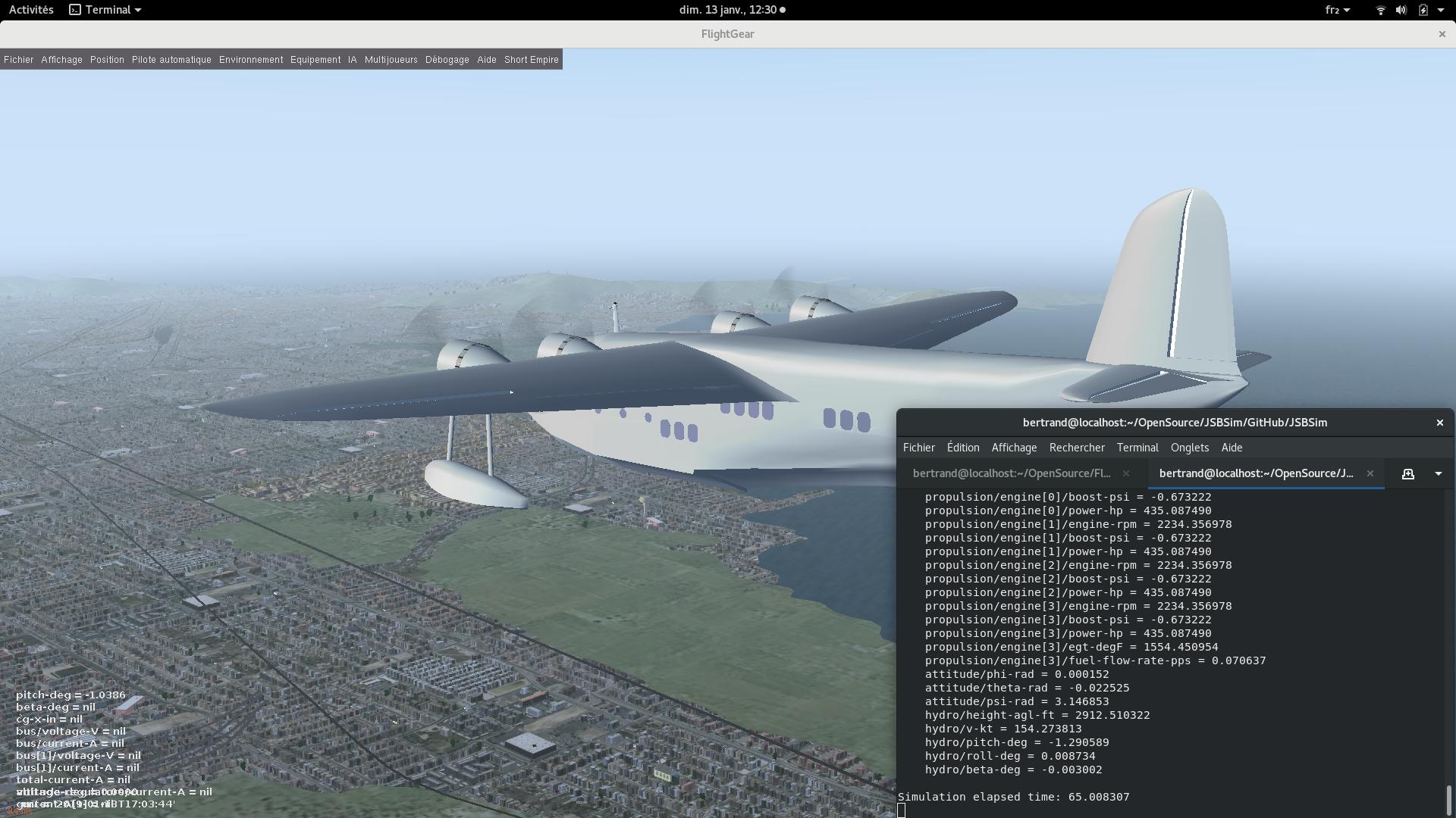FlightGear/JSBSim interface running