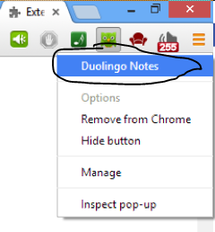 """""""Right click the Duolingo Notes Action Button"""""""