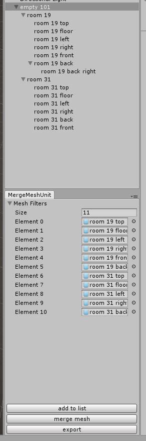 adding mesh to merge list