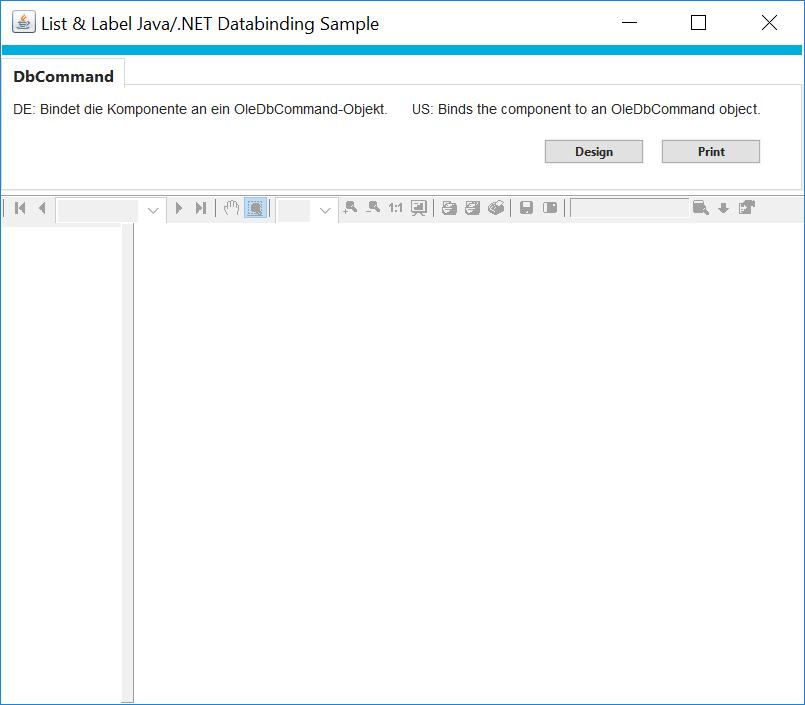 combit List & Label Java Sample Main Window