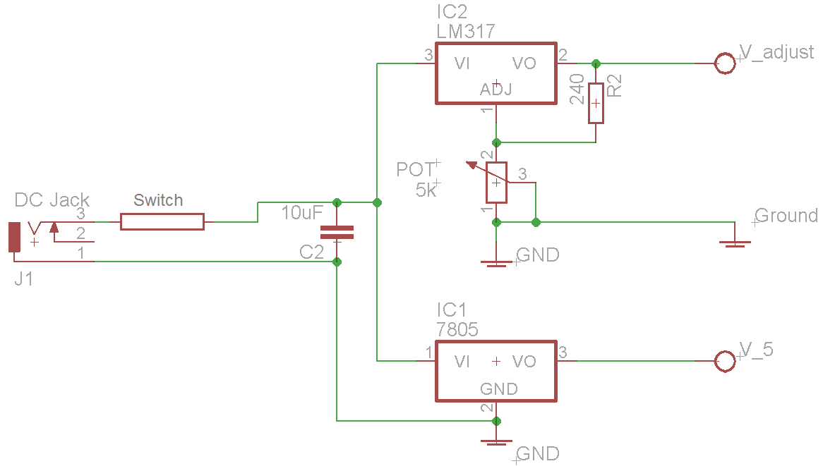 Benchtop Power Supply Jaycar Electronics 7805 Circuit This Regulator Will Act As For Youre Simply Setting Up Two Regulators From The Same And Having A Common Ground Connection Going Through To Front Panel