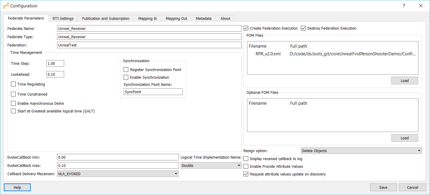 Plugin HLAConnectionConfiguration Screenshot