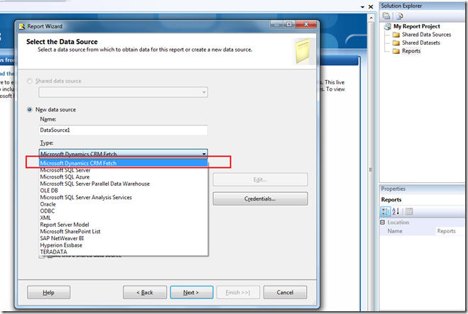 """Solved: Can't select """"Microsoft Dynamic CRM Fetch"""" as the new data source type"""