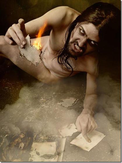撒旦将圣经烧成灰烬