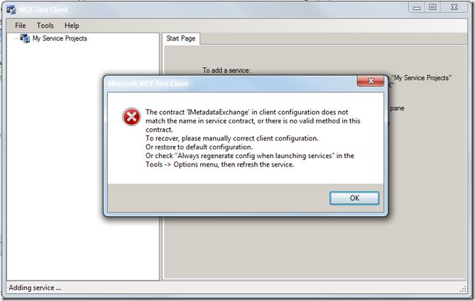 WCF Test Client Error: 'IMetadataExchange' not match