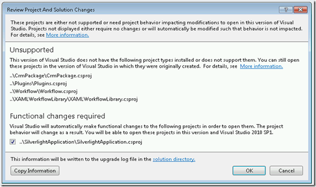 The project file *** cannot be opened. The project type is not supported by this installation.