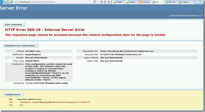 HTTP Error 500.19 - Internal Server Error