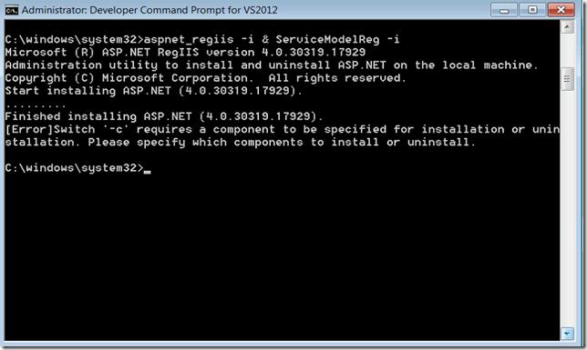 aspnet_regiis -i & ServiceModelReg -i