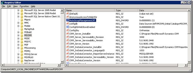 Set Computer\HKEY_LOCAL_MACHINE\SOFTWARE\Microsoft\MSCRM\AutoGroupManagementOff = 1