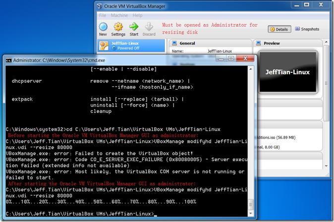 Solved: Error resizing the VirtualBox VM's disk