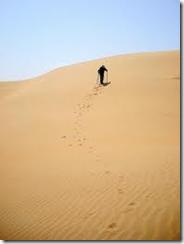 一个人在沙漠