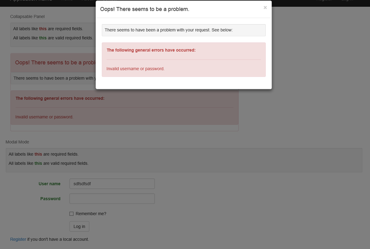 Sample Showing modal mode with required field indicators on