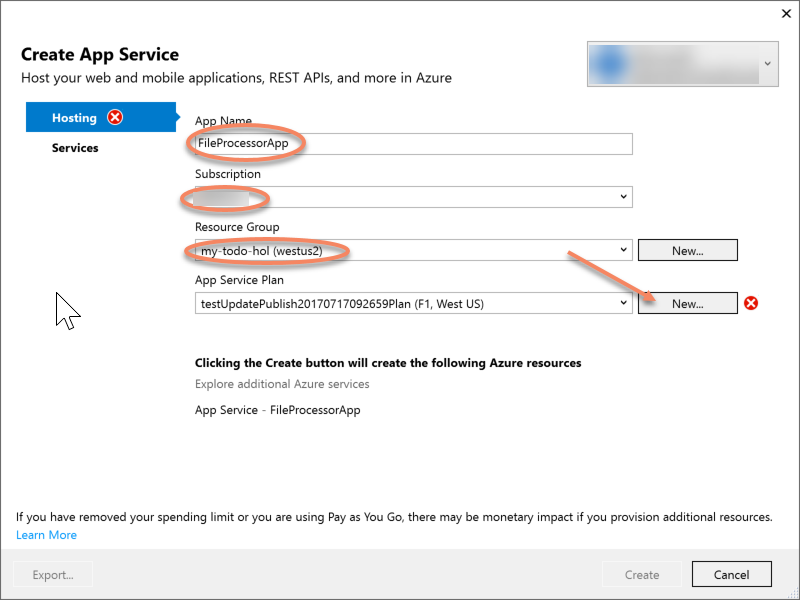 Create App Service