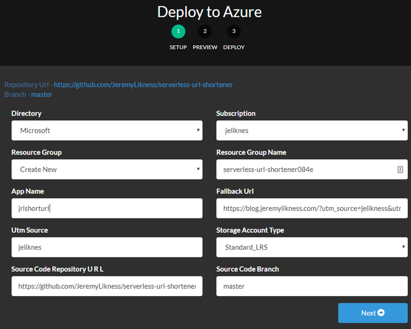 Initial Form for Deploying to Azure