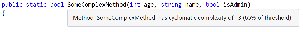 Complexity displayed as an info tooltip