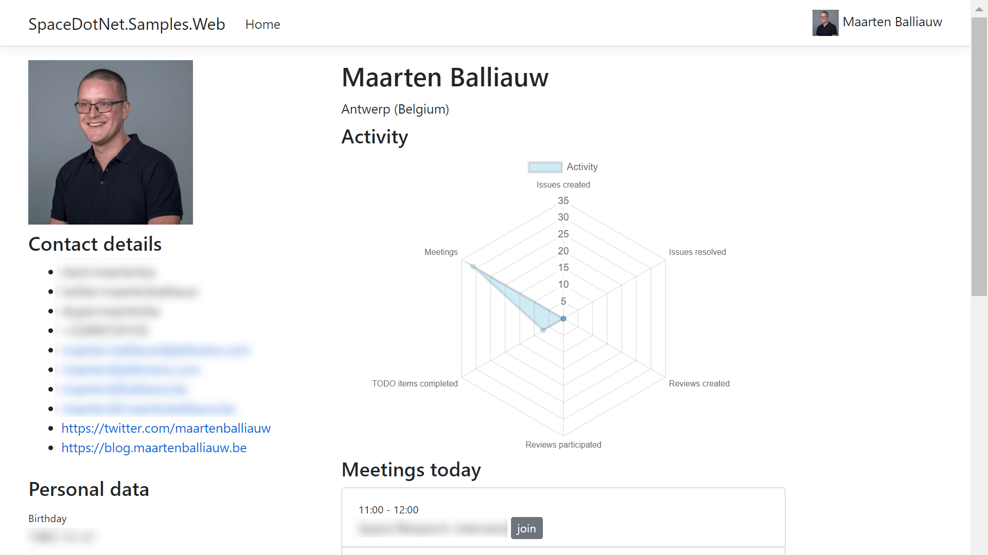Personal Space dashboard using Token Management and JetBrains.Space