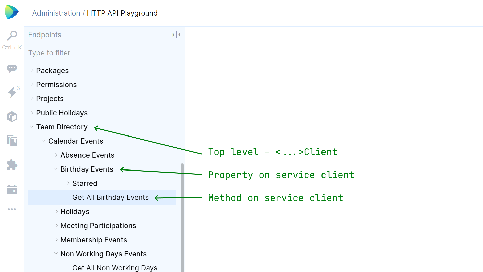 HTTP API Playground and how it maps to service clients