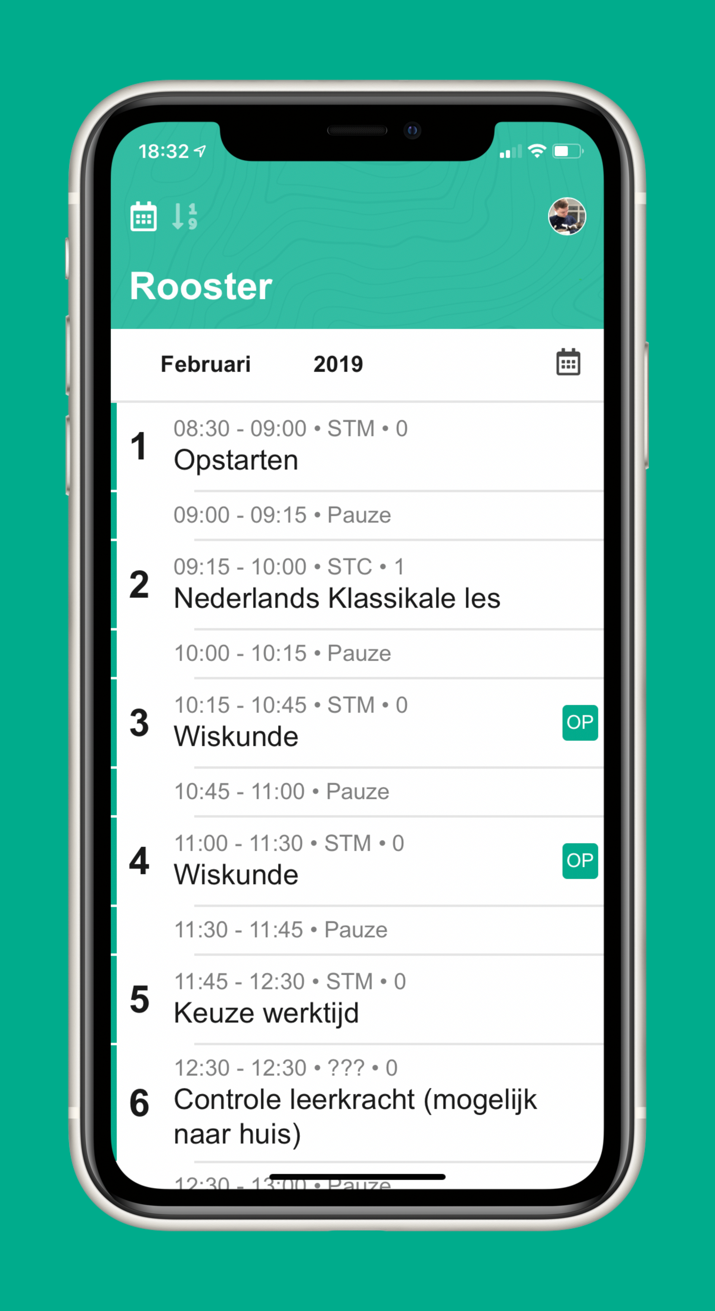 List view of schedules items