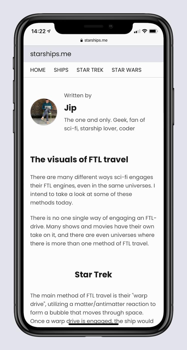Starships blog page on mobile