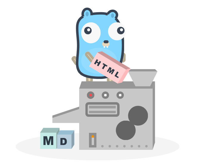 gopher stading on top of a machine that converts a box of html to blocks of markdown