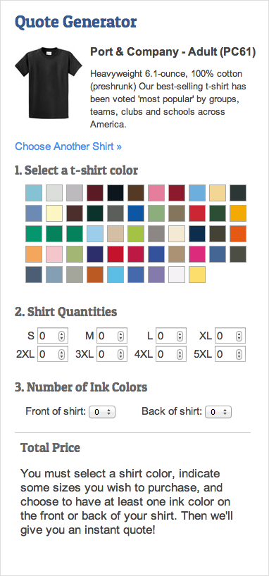 An image of the user interface laid out with a shirt image, an palette of available colors, fields to enter in quantity, and a place to indicate the number of print colors front and back.