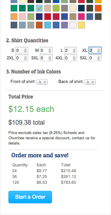 The same user interface except that the user has selected a color, quantity, and ink colors and it now shows the price and the price breaks that occur at larger quantities.
