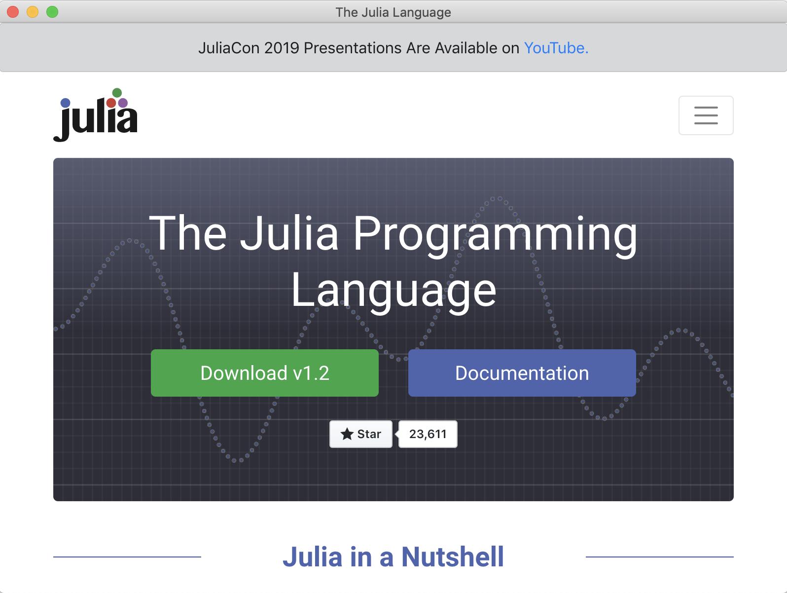 Blink Window showing the JuliaLang website