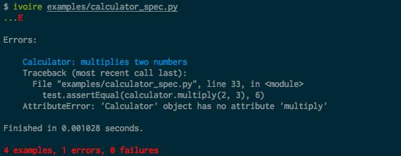 spec output