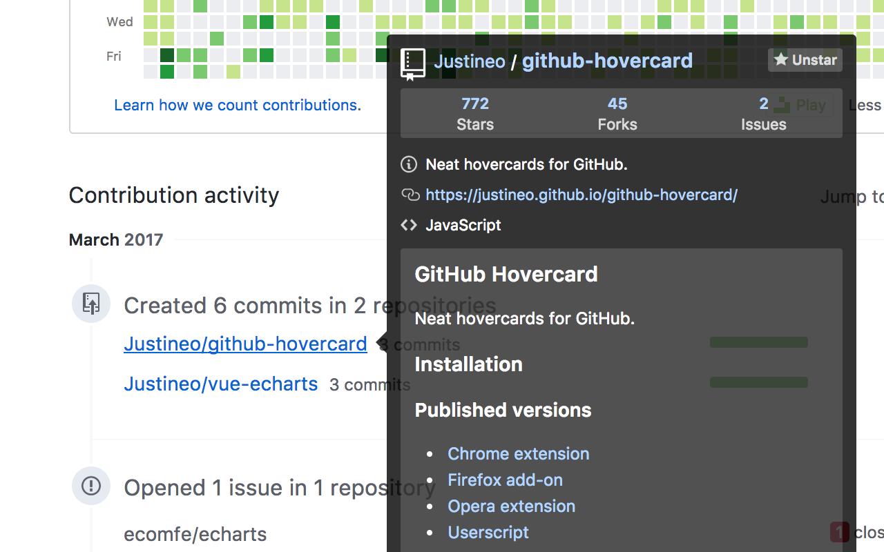 GitHub Hovercard