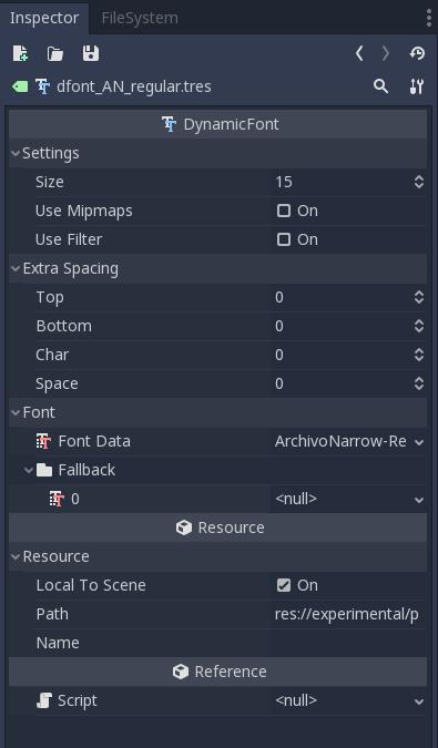 dynamicFont_inspector
