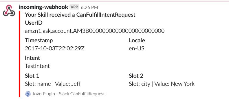Jovo Plugin Slack Canfulfill