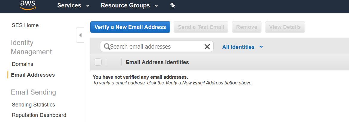 AWS SES Email Addresses
