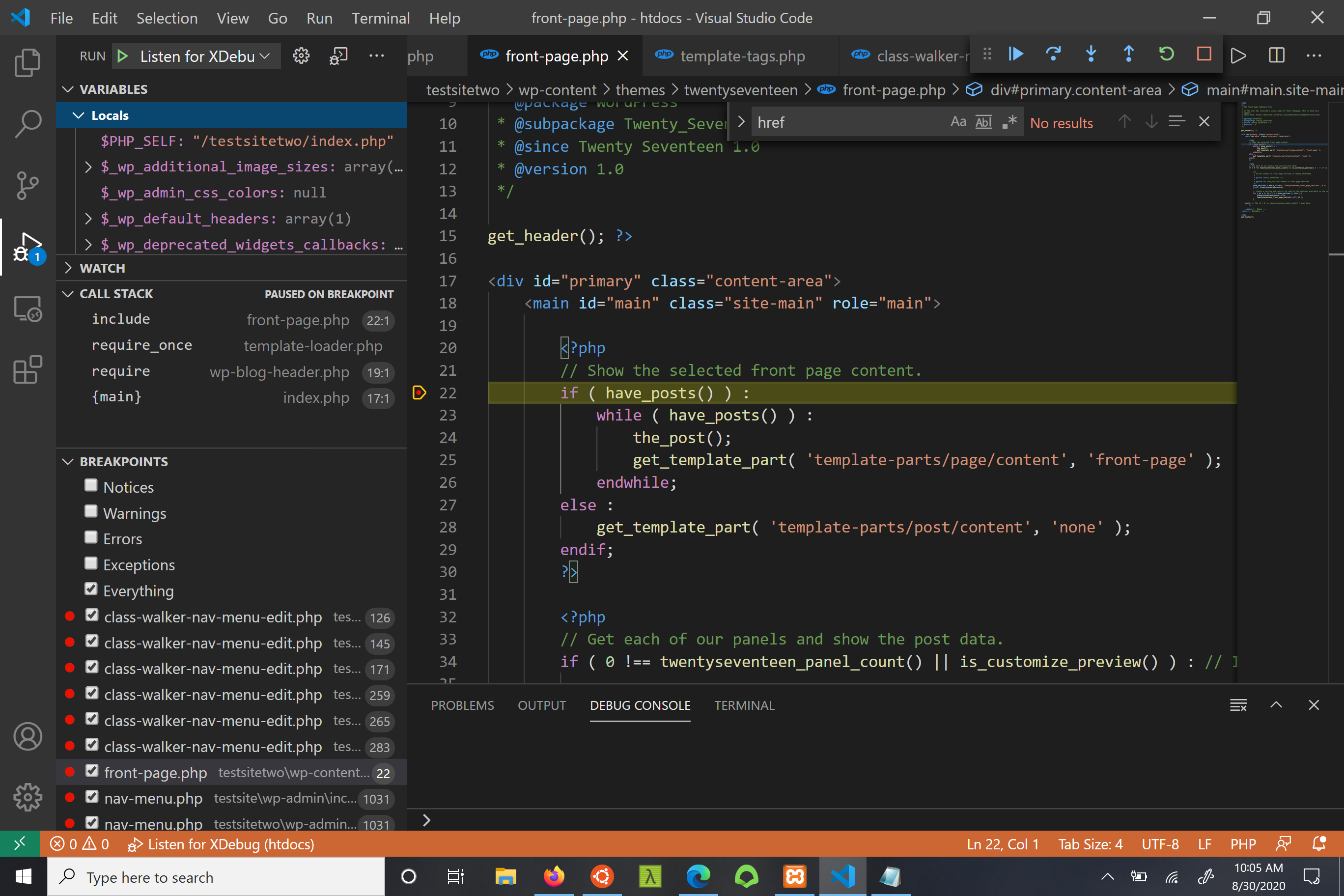 Image of a breakpoint in vscode
