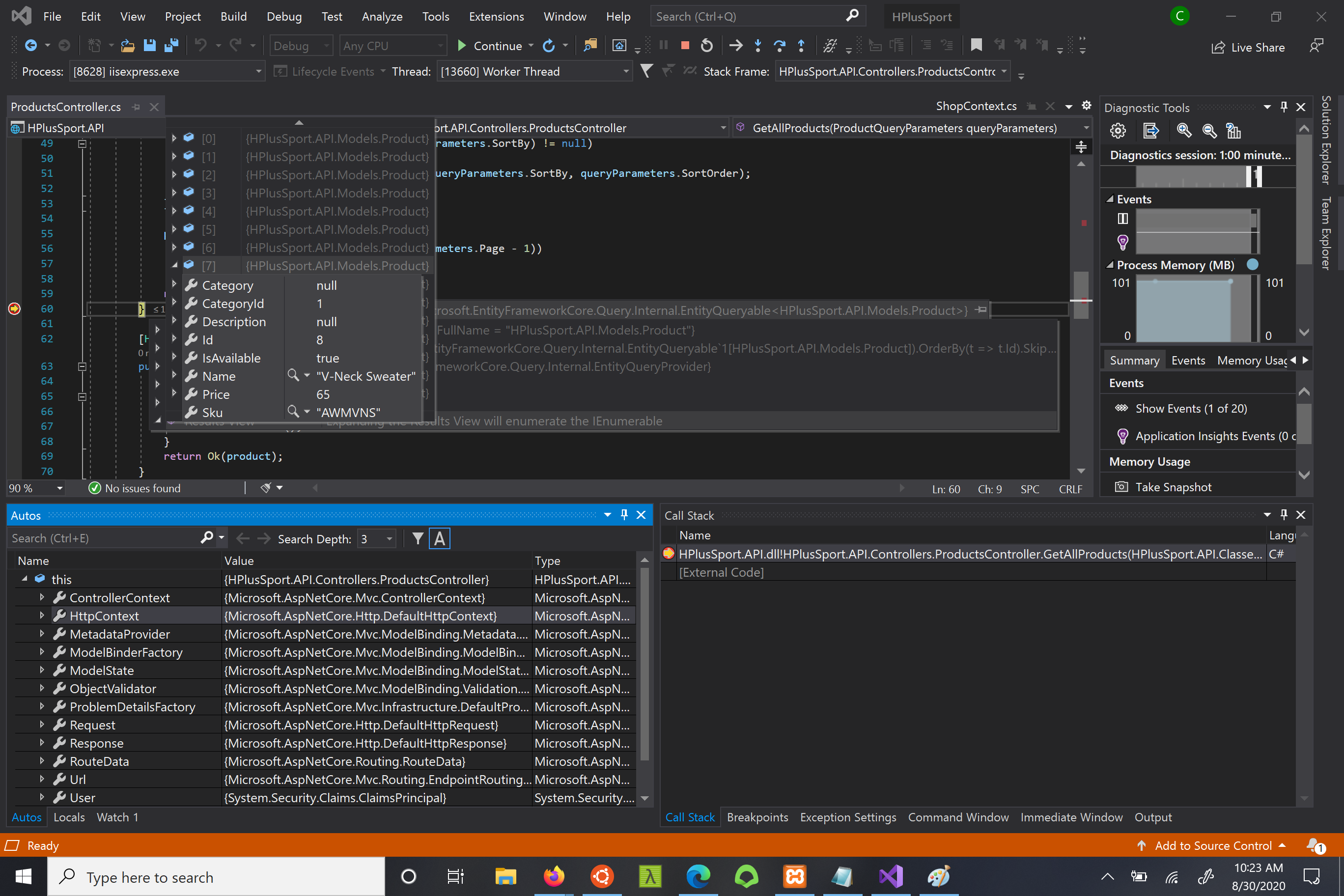 Image of a breakpoint in Visual Studio