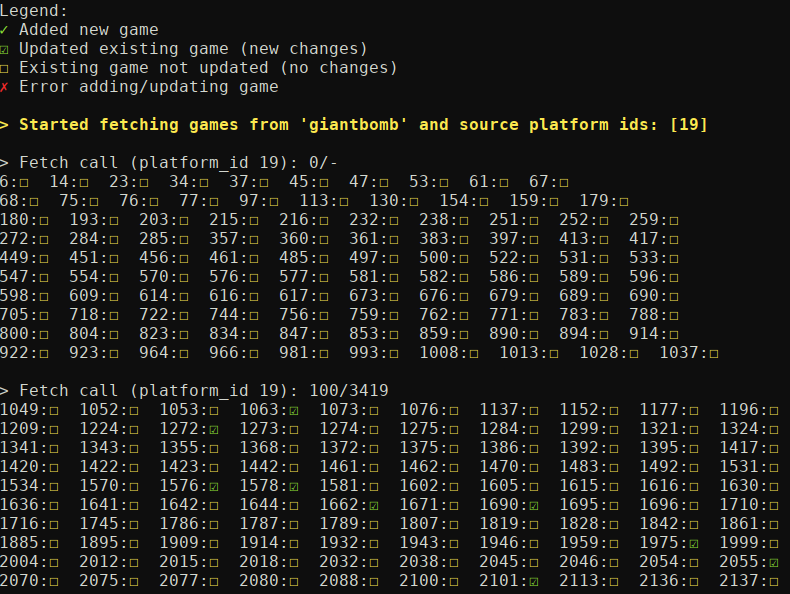 Django command example output
