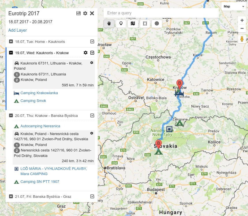 route planner vue demo screen