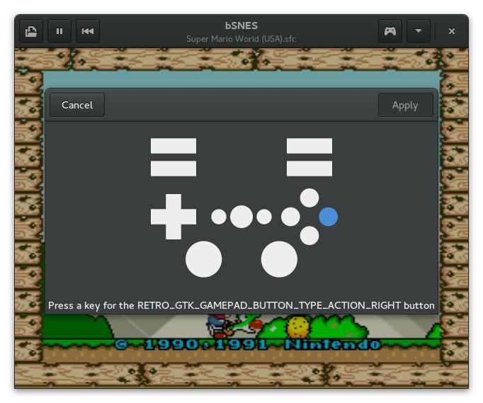 Gamepad configuration dialog