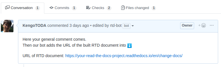 Screenshot of Read The Docs Helper app