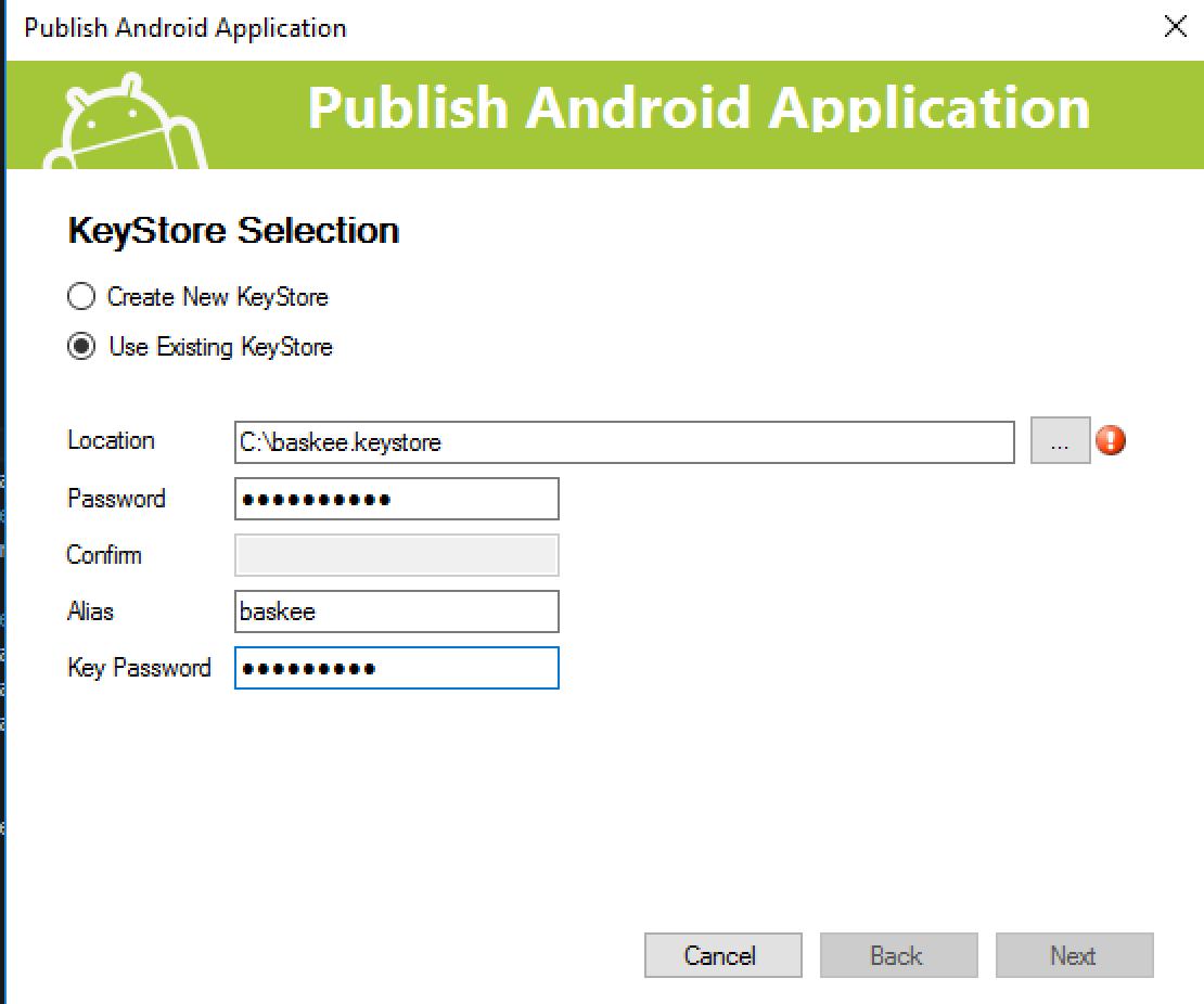 publish screen