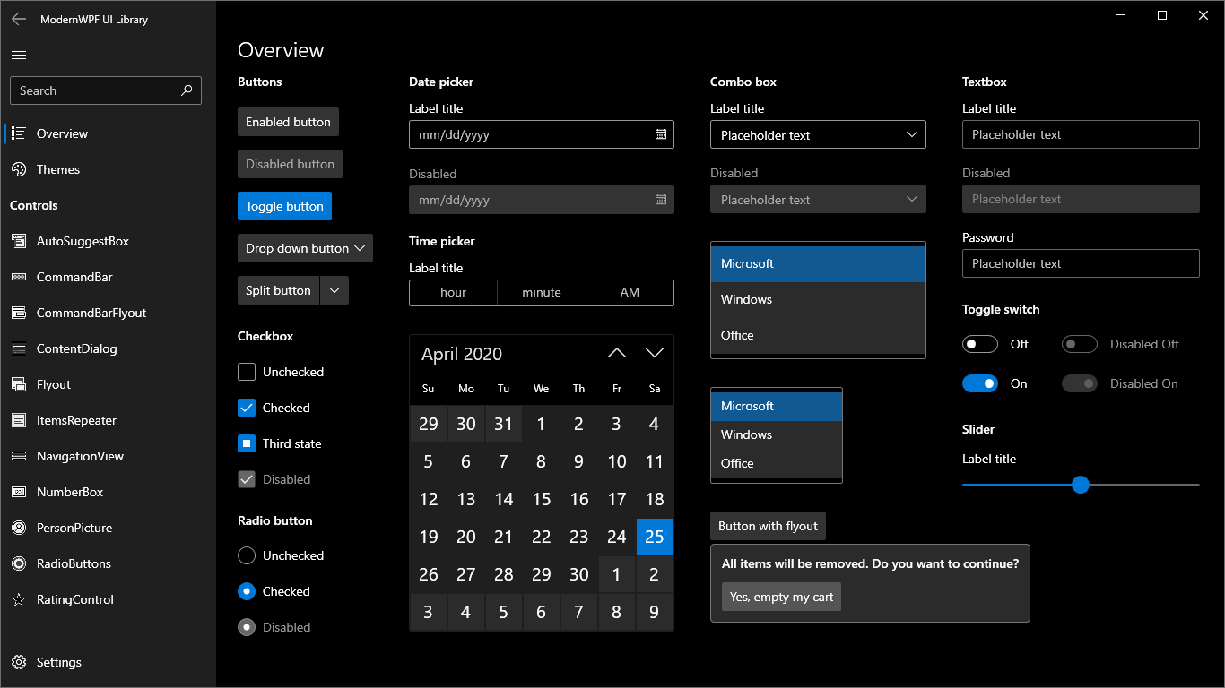 Overview of controls (dark theme)