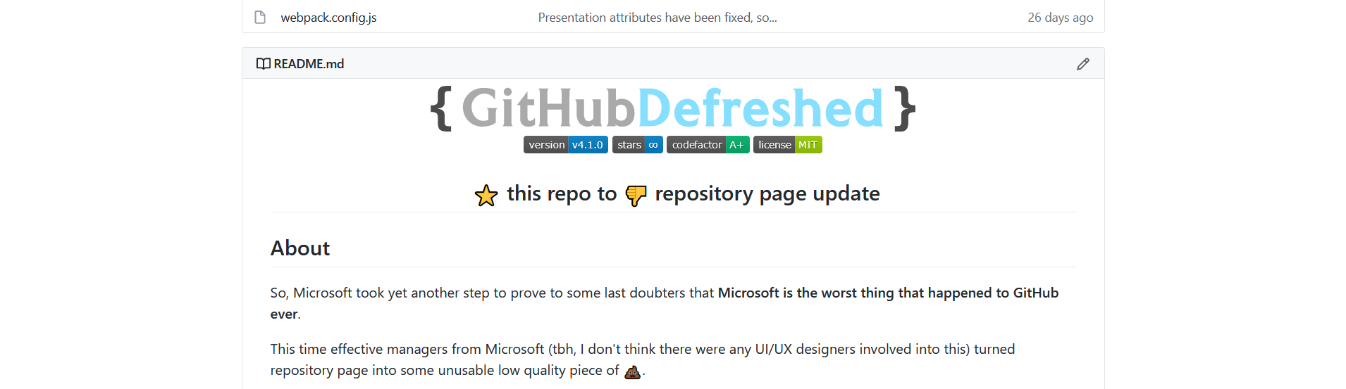 Preview of GitHub Defreshed: Repository page