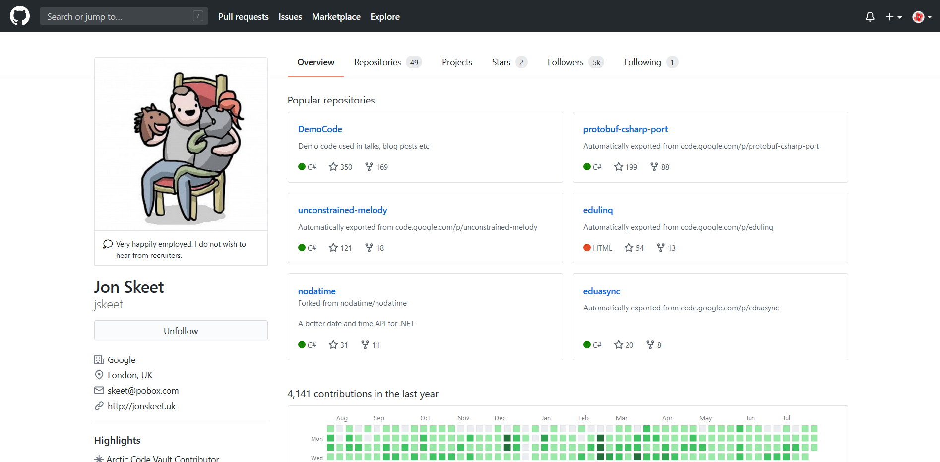 Preview of GitHub Defreshed: Profile page