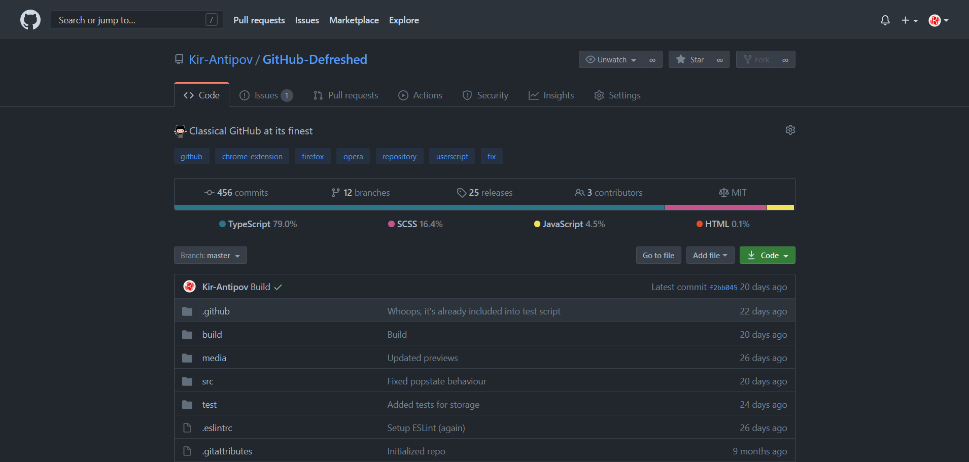 Preview of GitHub Defreshed: Dimmed dark mode