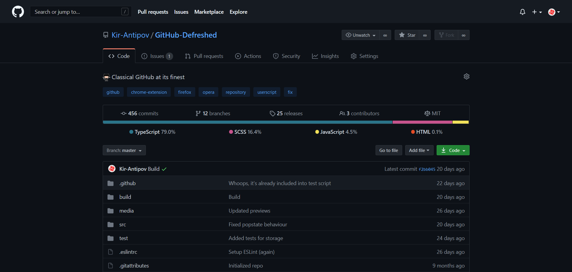Preview of GitHub Defreshed: Dark mode