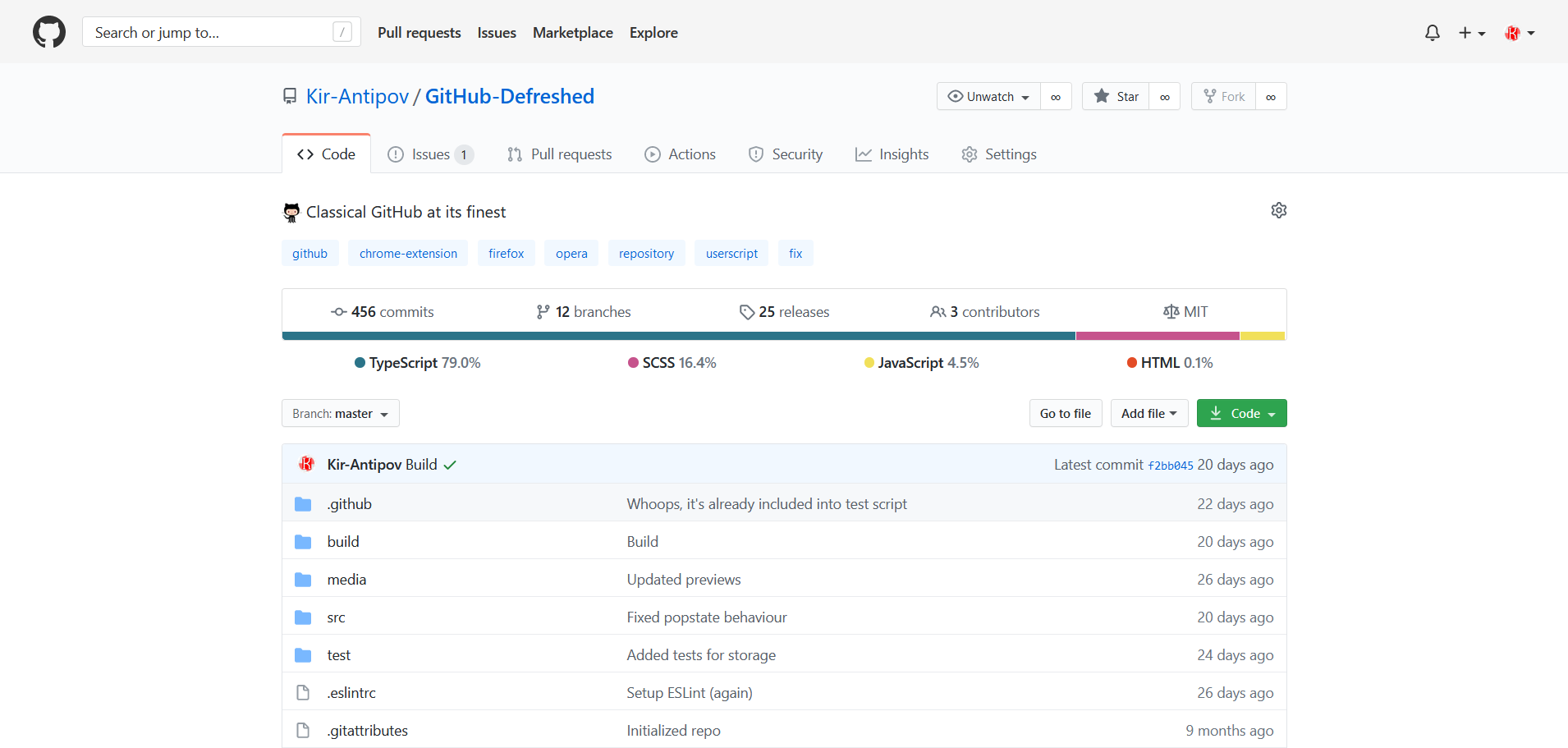 Preview of GitHub Defreshed: Light mode