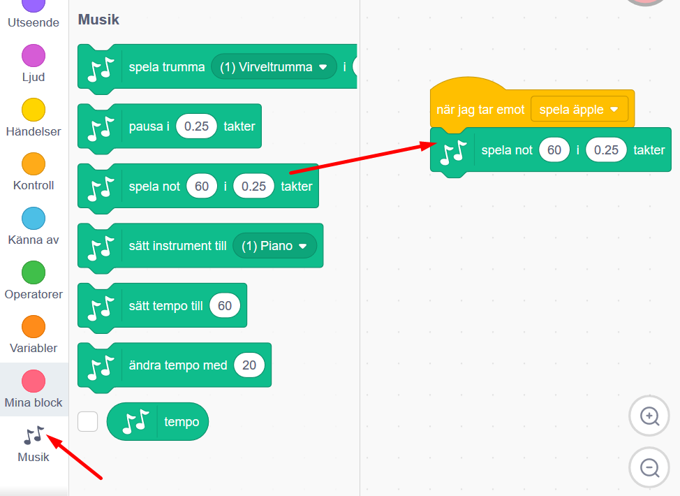 Scratch - kodblock - spela not 60 i 0.25 takter