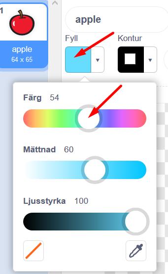 Scratch - Klädslar - ritverktyget - välj färg