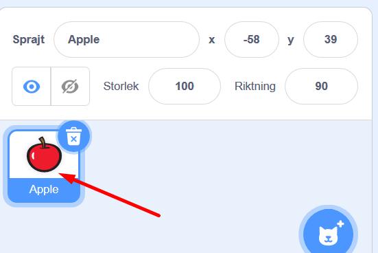 Scratch - klicka på sprajten för din tangent